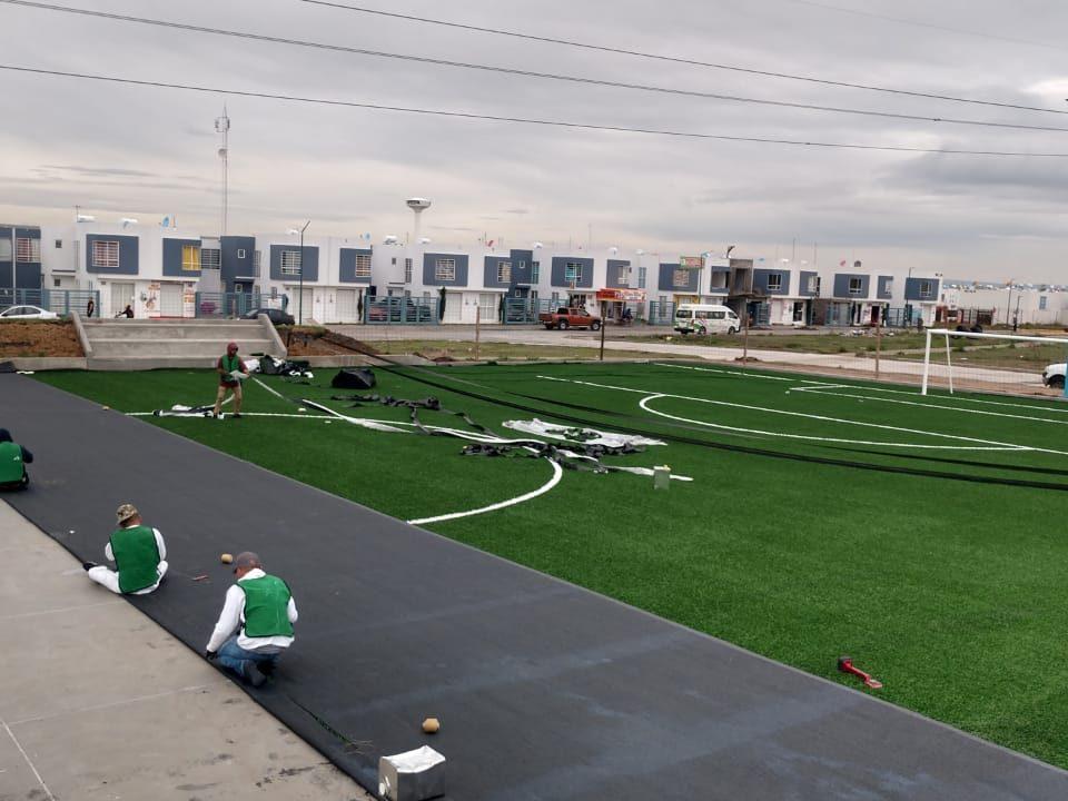 Constructora SADASI Tizayuca Hidalgo Dos Canchas Fútbol 7 Sports Grass 08