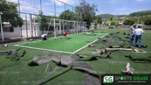 Cancha de fútbol soccer, reparación del círculo central de la cancha y áreas chicas Sports Grass 11